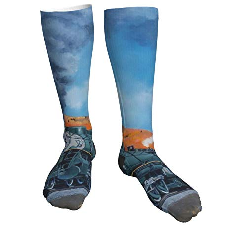 Compression Socks Women & Men Watercolor Steam Train and Railway Heel Thick Socks - Best for Running,Athletic Sports,Flight Travel, Pregnancy, Soccer