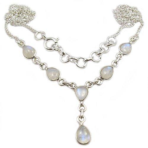 Bijoux et Objets - Regenbogen Mondstein Halskette aus Sterlingsilber - Steingröße 5x8mm