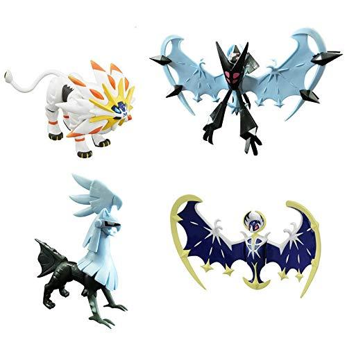 GBHF 4 Pièces Anime Pokemon Solgaleo Lunala Charizard Venusaur Blastoise Necrozma Silvally, Pokemon Anime Dessin Animé Figurines Collection Modèle Jouet