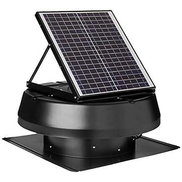 iLiving ILG8SF301 Smart Solar Attic 14 Round Exhaust Fan - Black