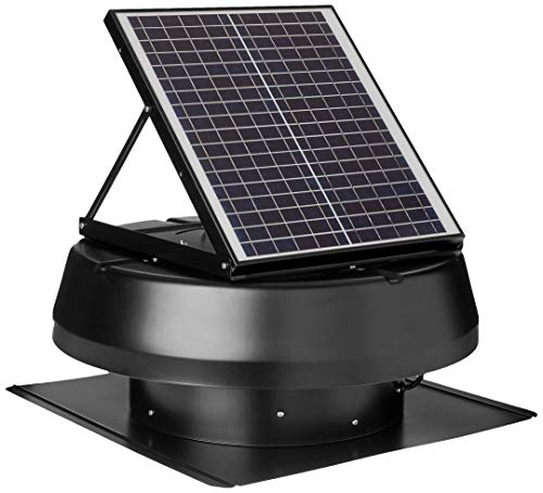 iLIVING HYBRID Ready Smart Exhaust Solar Roof Attic Exhaust Fan, 14', Black