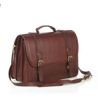 Leather Briefcase with Triple Compartments and Laptop Case Color: Brown
