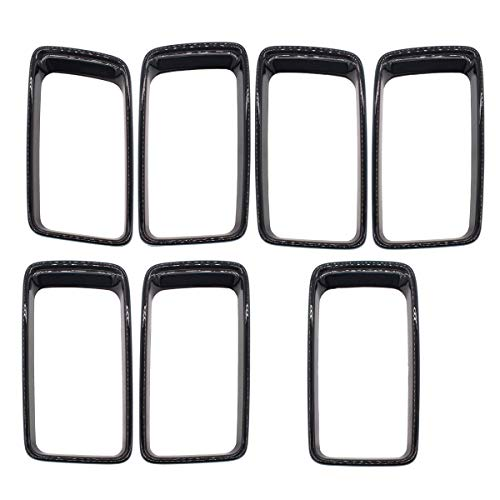 NewYall Pack of 7 Gloss Black Front Inserts Clip-on Grille Grill Ring Covers