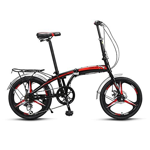 Bicicleta de Velocidad Variable, Bicicleta Plegable PortáTil, Rueda Integrada de 20 Pulgadas, 7 Velocidades, Utilizada para Desplazamientos Laborales, Excursiones, Adecuada para Estudiantes, Adul