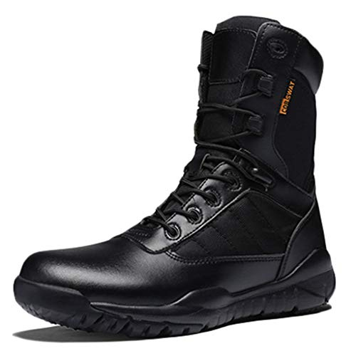 Botas de combate militares del desierto para hombres Botas de patrulla tácticas del ejército Zapatillas de entrenamiento impermeables Calzado de trabajo utilitario Todas las estaciones Negro,Black-43