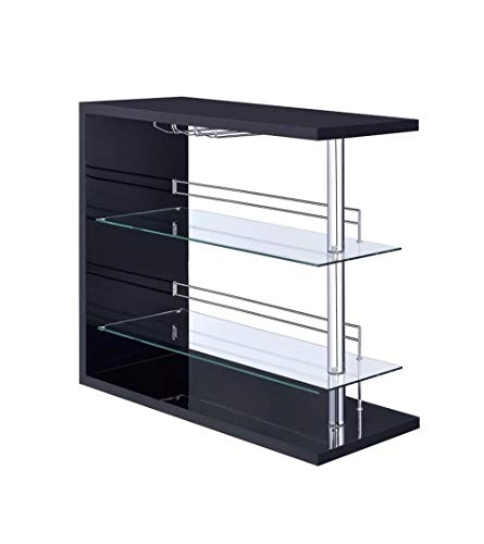 Bar Table with Two Glass Shelves in Gloss Black Finish