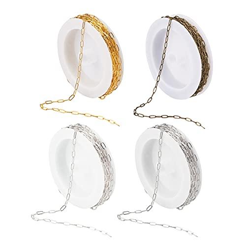 Craftdady 4Rolls - Cadenas de papel ovaladas con carrete de 4 colores, cadena soldada para hacer collares y pulseras
