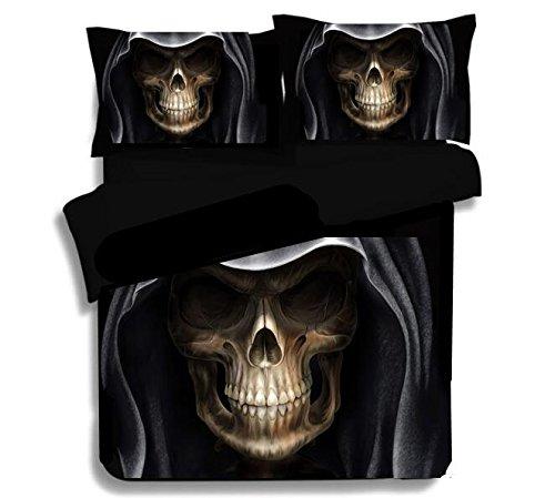 Best to Buy Soft Luxury Youth 100% Polyester Wroth Skull Fully Reversible 3-Piece Modern Flower Skull Comforter Set, Full/King/Queen/Single Size, (Full)