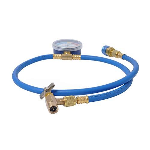 Kit de manguera de carga LIOOBO AC Freon manguera de recarga de aire acondicionado tubo de refrigeración manguera de presión Kit de medición con manómetro para coche R134A