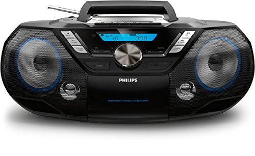 Philips AZB798T/12 CD-Soundmaschine, CD Player Tragbar (Radio DAB+/UKW, Bluetooth, CD, MP3-CD, USB, Kassette, All-in-One-Soundsystem) schwarz