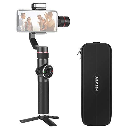 Neewer Stabilizzatore Gimbal Palmare a 3-Assi con Fuoco Manuale Zoom LED di Riempimento e Tubo di Prolunga da 4 Pollici per iPhone Xs Max Xr X 8 Plus 7 6 Samsung Galaxy S10 S10+ S10E S9+ S9 S8+ S8