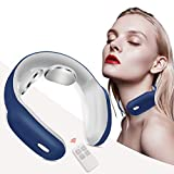 Neck Massager with Pulse Heated, Smart Portable Cordless Neck Massage Equipment, 3 Modes 15 Speeds Electric Pulse Massage Gifts for Women Men Dad Mom, Use at Home Office Travel (Blue)