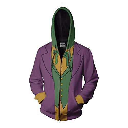 Der dunkle Ritter Cosplay Comic Clown Joker Anime Hoodie Kostüm Sweatshirt Jacke Mäntel Männer und Frauen 5XL Beige