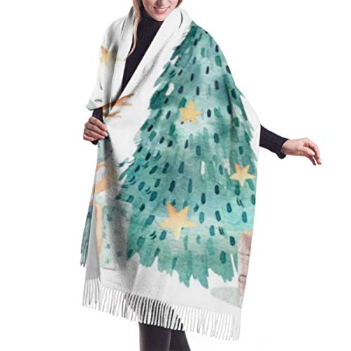 Jingliwang Schals Wickelschal Classic Cashmere Feel Unisex Winter Scarf,Cute Snowman Christmas Tree Long Large Warm Schals Wickelschal Stole