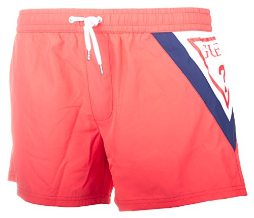 Pantaloncini da bagno GUESS da uomo, TROPICAL GATEWAY WOVEN SHORT, Costume da bagno S-XL: Colour: Red | Size: Large