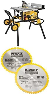 DEWALT DWE7491RS 10-Inch Jobsite Table Saw with 32-1/2-Inch Rip Capacity and Rolling Stand w/ DW3106P5 60-Tooth Crosscutti...
