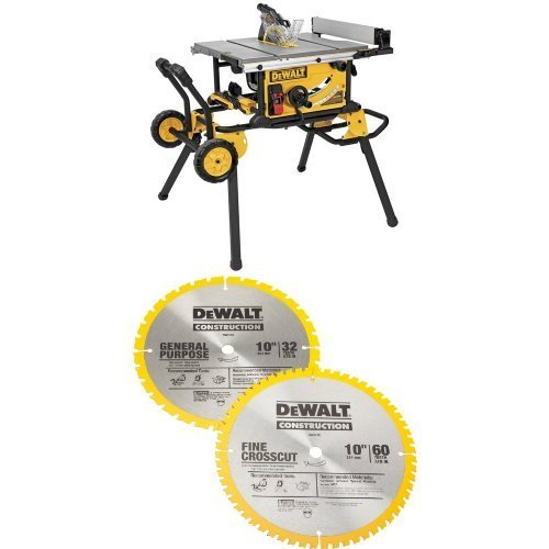 DEWALT DWE7491RS 10-Inch Jobsite Table Saw with 32-1/2-Inch Rip Capacity and Rolling...