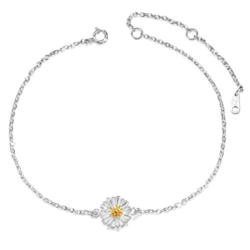 SHEGRACE 925 Sterling Silver Anklet with Daisy Flower, Platinum, 210mm for Woman