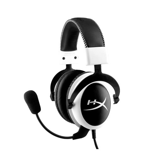 HyperX Cloud - Auriculares de Diadema Cerrados para Gaming (micrófono extraíble, Almohadillas de Espuma, Altavoces 53 mm, Compatible móviles/tabletas/Playstation 4), Color Blanco