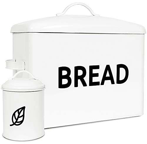 Farmhouse Bread Box for Kitchen Counter - Large Modern Metal Bread Saver to Keep Bread Fresh - White Bread Container with Airtight Tin for Decor - Countertop Organizer - Vintage Bread Storage bin