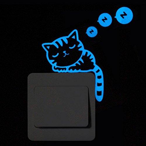Cartoon Chat Autocollant Mural, Sensail 1 Pcs Interrupteur Décorations Chambre de bébé Fluorescence Stickers (B)