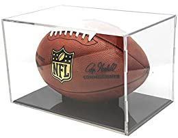 "BallQube's case fits a football with up to a 22.05"" circumference and a length of 11.4"". NFL regulation size football is approximately 22"" circumference and 11"" length. BallQube's UV series display cases are laboratory tested to block 98% of UV light..."