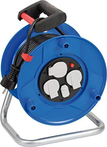 Brennenstuhl Garant Kabeltrommel 3-fach mit USB für den Innenbereich (Indoor-Kabeltrommel mit USB-Ladefunktion und 25m Kabel, ergonomischer Handgriff, Made in Germany), Blau