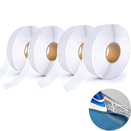 Cinta de dobladillo,para pegar tela y hacer manualidades sin coser, planchar/cortina/pantalón/jeans/vestido/cinta de planchar transparente(4 rollos,100 metros por rollo,10/15mm)
