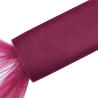 BalsaCircle 54-Inch x 120 feet Burgundy Large Net Tulle Fabric by The Bolt - Wedding Party Decorations Sewing DIY Crafts Costumes
