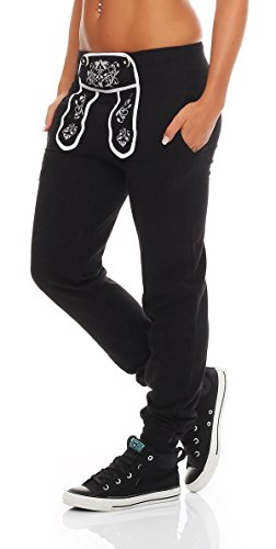 Gennadi Hoppe Damen Sporthose Pant im Trachtenlook (Large, schwarz)