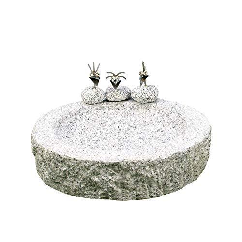 Gebrüder Lomprich Vogelbad aus Granit (mit 3 Vögele am Rand sitzend)