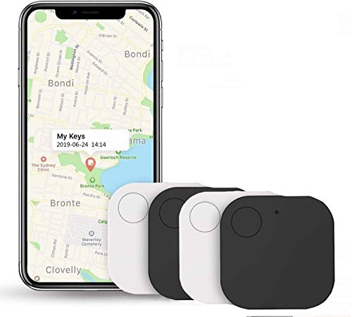 Key Finder,4 Pack Bluetooth Smart Tracker,Remote Finder Wireless Locator Item for Phone, Item, Pets, Children Locating Working Range,Anti Lost Tag Wallet (2Black and 2White)