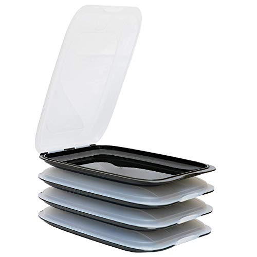 ENGELLAND - Hochwertige stapelbare Aufschnitt-Boxen, Frischhaltedose für Aufschnitt. Wurst Behälter. Perfekte Ordnung im Kühlschrank, 4 Stück Farbe Schwarz, Maße 25 x 17 x 3.3 cm