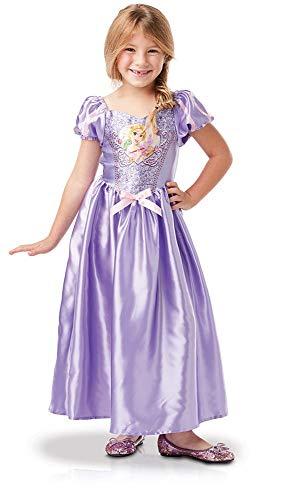 Princesas Disney - Disfraz de Rapunzel con lentejuelas para niña, infantil 5-6 años (Rubie's 641027-M)