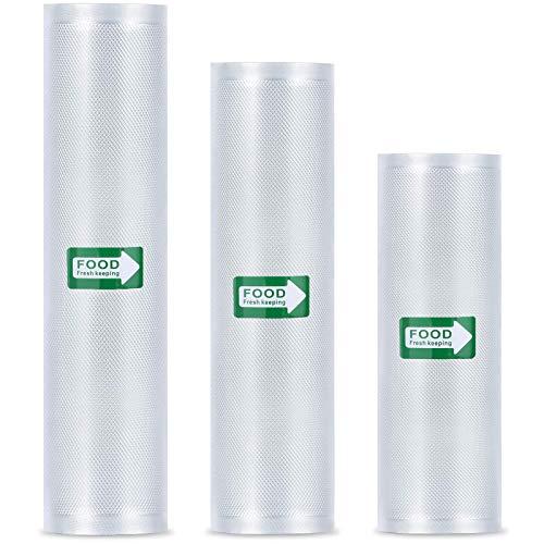 Tonsooze Rollos al Vacio para Envasadora Sellador de Vacío, 3 Rolls 20x500cm/25x500cm/28x500cm Bolsas de Vacio Gofradas para la Conservación de Alimentos Protector la Comida