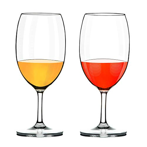 COOKY.D Verres à vin Blanc Rouge, Verres à vin en Tritan-Plastique Incassables 570 ML, Lavables au Lave-Vaisselle, Lot de 2