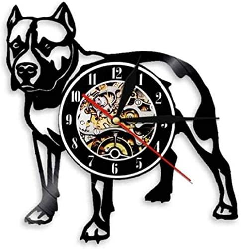 Pitbull - Reloj de pared decorativo para el hogar con diseño de perro de la raza de regalos Pitbull mamá disco de vinilo reloj de pared American Bully mamá retro