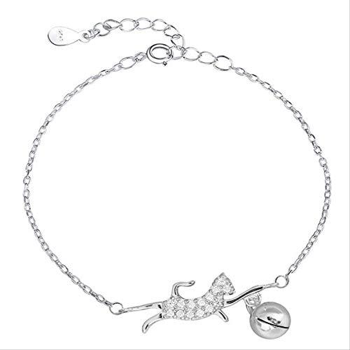 LFWQ stijlvolle schattige Flash Diamond kat spelen bal vorm ronde bel vorm armband Honderd hand keten