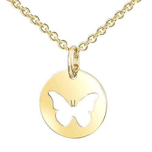 MATERIA Halskette mit Kettenanhänger Gold Schmetterling Kette 925 Silber Damen Schmuck 42+5cm #KA-439