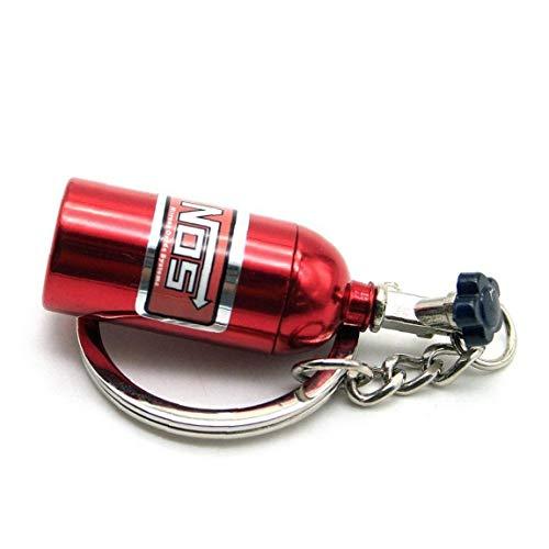 Botella Creativa con Estilo Mini Óxido Nitroso Nos Llavero del Anillo De Mando Stash Turbo Llavero Rojo