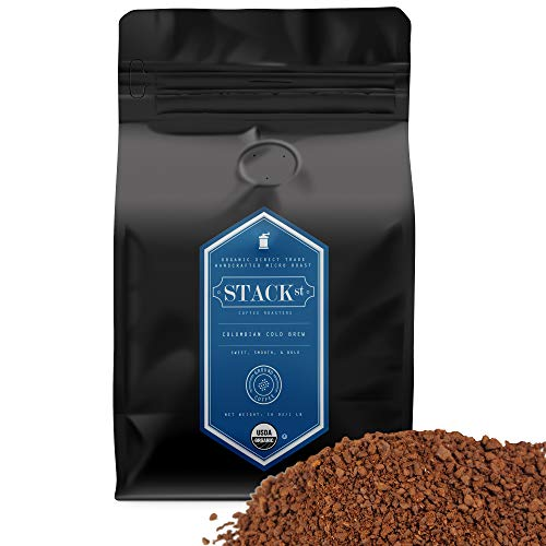 Stack Street Organic Cold Brew Coffee Coarse Ground 1 LB Flavor Dark Roast Coarse Grind 100% Arabica Beans Handcrafted, Single Origin, Micro Roast, Direct Trade By 1 Pound , Colombian Supremo Reserve, 16 Oz