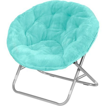 Foldable Steel Frame 225 lbs Capacity Soft and Wide Seat Faux-Fur Saucer Folding Chair in Aqua Wind