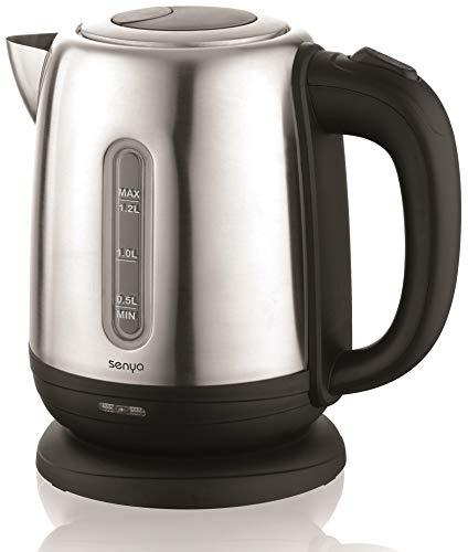 Senya bouilloire électrique Inox Little Tea Noir, bouilloire sans fil, capacité 1.2L, 1630W, SYBF-K025N