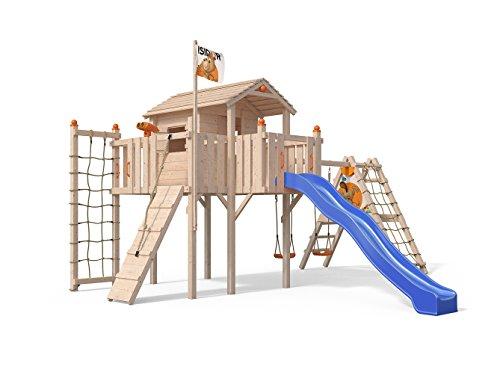 Oskar Terrizio XL-Spielturm Baumhaus mit erweitertem Schaukelanbau, Rutsche, Doppelschaukel, Kletterrampe, Kletternetz und Spielhaus auf 1,50 Meter Podesthöhe