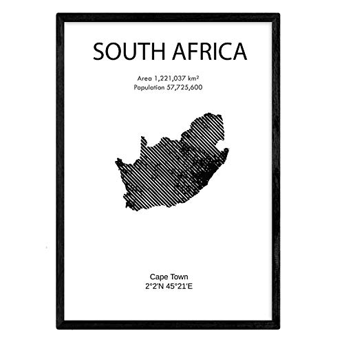 Zuid-Afrika poster. Bladeren uit landen en continenten. A3-formaat