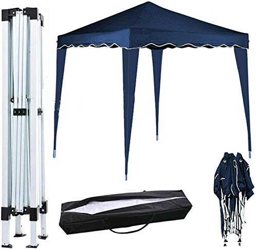 Plztou 3x3M POP UP Garden Gazebo - Marquee Tent Canopy for Outdoor Commercial Camping BBQ Wedding Party, PVC coated, Waterproof, Heavy Duty, Blue