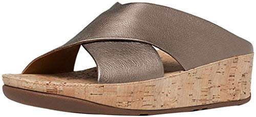 FitFlop Women's Kys Leather Slide Sandals (Bronze,9B)