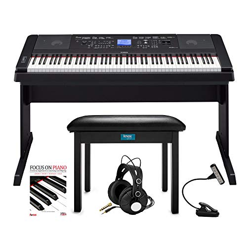 Yamaha DGX-660 88-Key Grand Piano Bundel met Knox Flip-Top Bank, LED Muziek Licht, Knox Studio Koptelefoon en Focus Piano Boek/CD bundel (5 items)