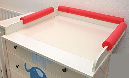 Premium Kopfschutz für Wickeltisch Universell passend Optimal für Wickeltischaufsatz IKEA Malm Hemnes Songesand Fallschutz Krabbelschutz Kopfkissen Stoßschutz Kantenschutz (Rot, Kopf + Seite)