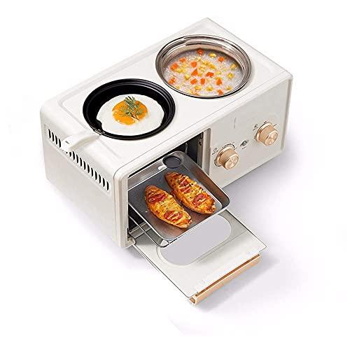 Aparatos de Cocina pequeños Máquina de Desayuno 4 en 1, Sartén + Horno + Olla hirviendo + Vaporera, Tostadora, Hornear Pasteles,Mini hornos de Cocina con múltiples cocinas
